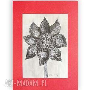 rysunek czarno biała grafika z kwiatem