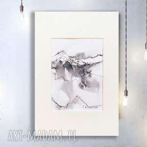 szare grafika rysunek czarno biały z górskim