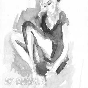 nietypowe grafiki czarno białe grafika biała kobieta
