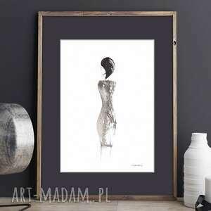 Kobieta - grafika czarno biała, ręcznie malowany czarnym tuszem, plakat obraz