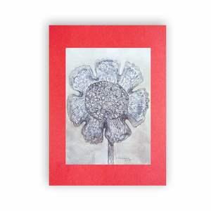 kwiat rysunek biało czarny, szkic tuszem, grafika czarno biała, nowoczesna
