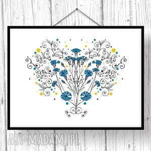 niebieskie grafika kwiaty naszych pól... chabry