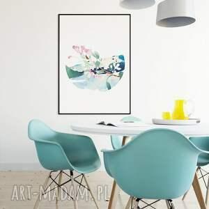 niebieskie grafika ilustracja kwitnąca gałązka jabłoni