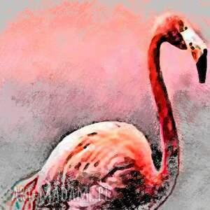 różowe grafika na płótnie, flaming