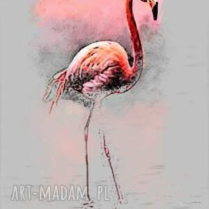 grafiki flamingi pomarańczowe grafika na płótnie, flaming