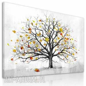 drzewo żółte nowoczesny obraz do salonu