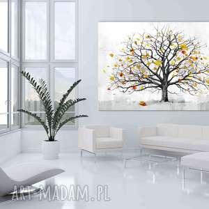 szare liście nowoczesny obraz do salonu