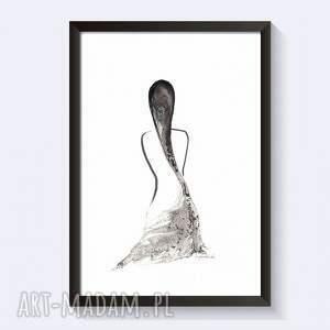 szare grafika ilustracja obraz kobieta, ręcznie malowany