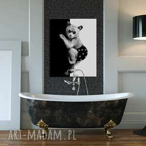 czarne miś obraz na płótnie - 80x100cm