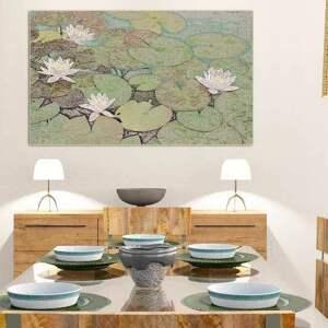 zielone grafiki do salonu grafika obraz na płótnie, lilie
