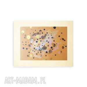 złote malowany ręcznie oryginalna abstrakcja, nowoczesna