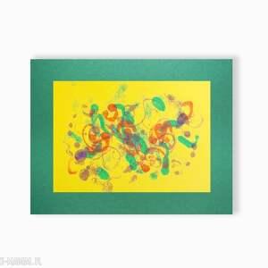 zielone design ręcznie malowana abstrakcja