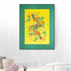 abstrakcja żółte ręcznie malowana