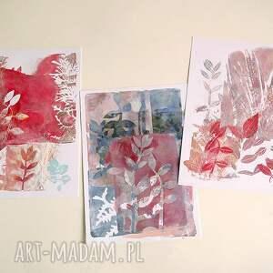 Ręcznie wykonane grafiki A4 abstrakcja - zestaw - rośliny obraz