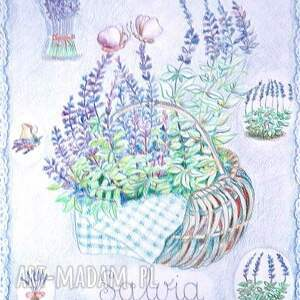 fioletowe obrazy do salonu grafika szałwia w koszyku 34 x