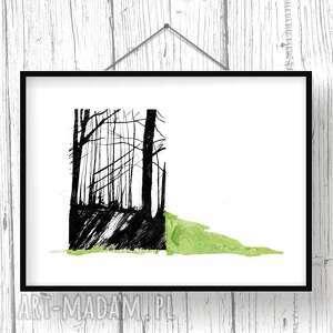 tryptyk grafika białe w lesie... poetycki