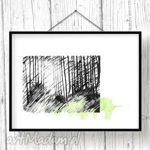 czarne grafika ilustracje w lesie... tryptyk poetycki