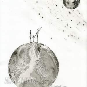 niepowtarzalne obrazy autorskie malowany ręcznie tuszem na naturalnie białym