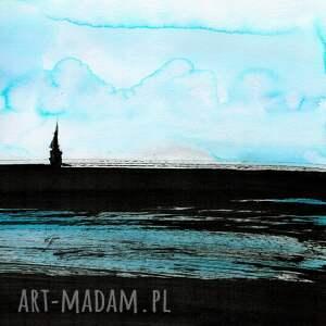obrazy ręcznie malowane turkusowe grafika 50x70 cm wykonana