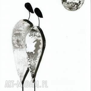 minimalizm grafika białe 30x40 cm wykonana ręcznie