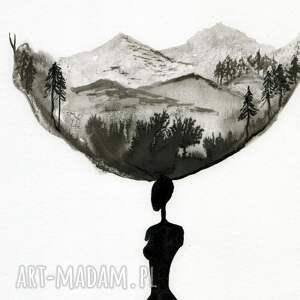 szare grafiki do salonu malowane ręcznie tuszem na naturalnie białym