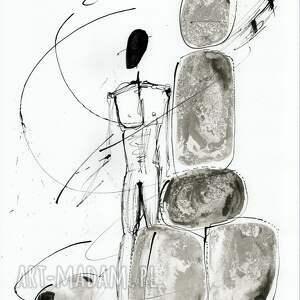 obrazy ręcznie malowane białe tuszem na naturalnie białym