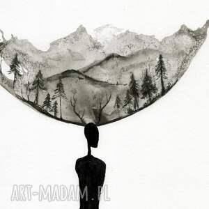 zestaw 2 grafik 30X40 cm wykonanych ręcznie, abstrakcja, elegancki minimalizm obrazy malow