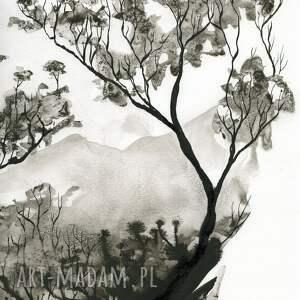 grafiki do sypialni malowane ręcznie tuszem na naturalnie białym