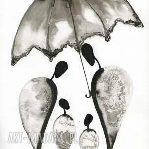 ART Krystyna Siwek zestaw 2 oryginalnych grafiki czarno białych A4 - obrazy do sypialni