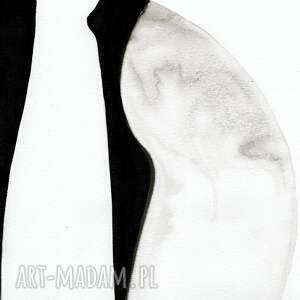 obraz ręcznie malowany białe grafiki wykonane czarnym tuszem