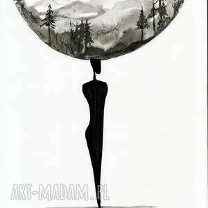 ART Krystyna Siwek szare grafiki do salonu zestaw 2 grafik 30x40 cm wykonanych