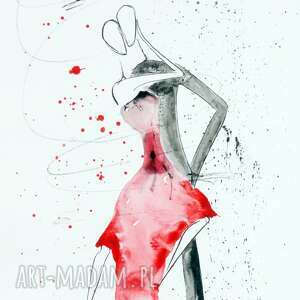 minimalizm grafika czerwone zestaw 2 obrazów 30 x 60 cm