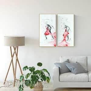niepowtarzalne grafika obrazy-ręcznie-malow zestaw 2 obrazów 30 x 60 cm