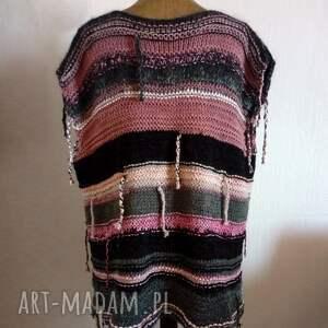 trendy kamizelki kamizelka długa wykonana na drutach z grubej