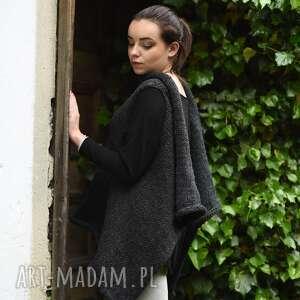 sweter na drutach kamizelki szara kamizelka na