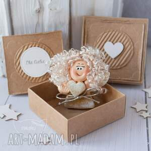 ręcznie robione kartki anioł stróż aniołek z kartką w mini