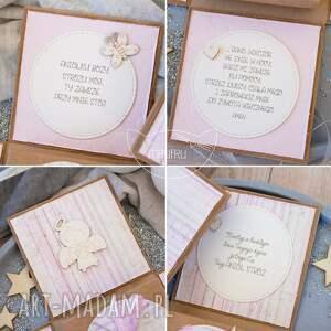 na chrzest kartki różowe eksplodujące pudełeczko z aniołkiem