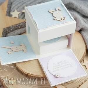 mrufru kartki: eksplodujący box z okazji roczku. Z króliczkiem - ręczne na urodziny