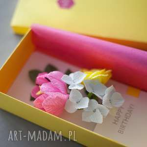 kartki: Karteczki 3D na urodziny - papier prezent