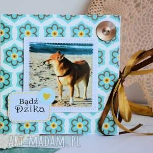 turkusowe kartki pies kartka - bądź dzika