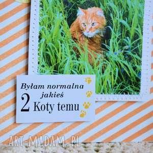 zielone kartki kot kartka - byłam normalna 2 koty