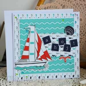 niebieskie kartki żaglówka kartka dla żeglarza / podróżnika