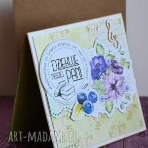 niebieskie kartki nauczycielka kartka - dziękuję naszej