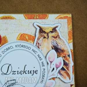 kartka kartki pomarańczowe - dziękuję
