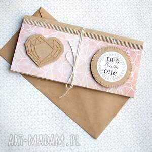 ślub kartki beżowe kartka - kopertówka:: geometric