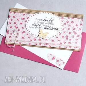 efektowne kartki ślub kartka kopertówka - kwiatuszki