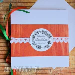pomarańczowe kartki haft kartka - moc serdecznych życzeń (2