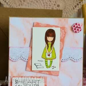 różowe kartki miłość kartka - my heart is yours (moje
