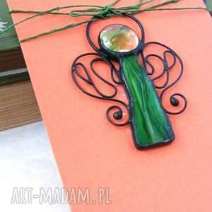 ręcznie robione kartki zawieszka witrażowa kartka na życzenia z zielonym
