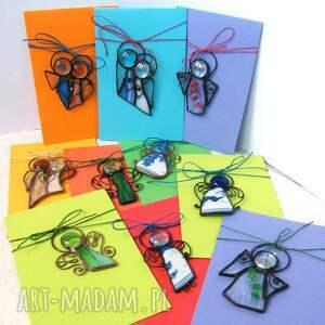 zielone kartki kartka z-aniołkiem na życzenia z zielonym
